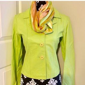 Neon green blazer leather jacket.